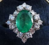 Big beautiful 2.25ct emerald and diamonds 18ct 18k white gold cluster cocktail vintage antique ring